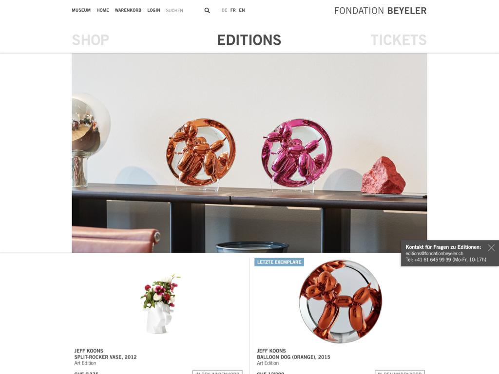 Drei Shops In Einem Der Neue Fondation Beyeler Online Shop